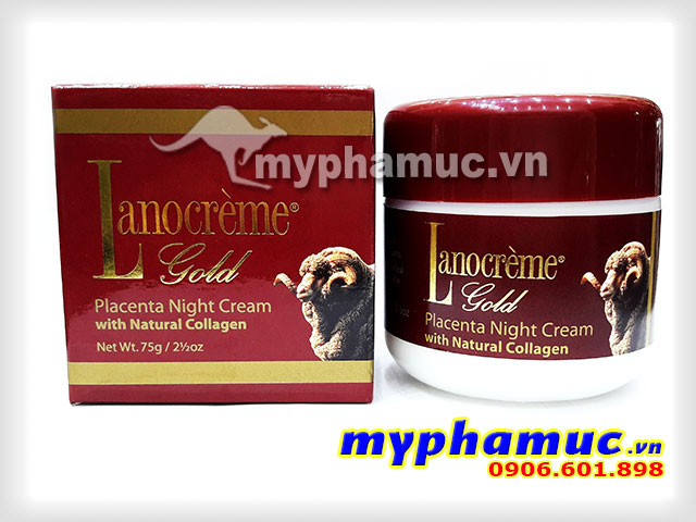 Kem nhau thai cừu Lanocreme Gold Placenta Night Cream with Natural Collagen 75g