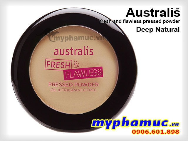 Phấn phủ tốt  Australis Fresh and Flawless Pressed Powder Deep Natural