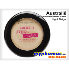 Phấn Phủ Tốt  Australis Fresh and Flawless Pressed Powder Light Beige