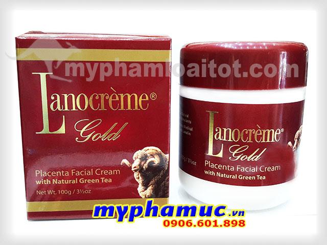 Kem nhau thai cừu Lanocrème Gold Placenta Facial Cream with Natural Green Tea 100g