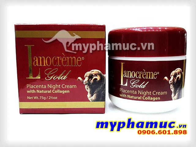 Kem nhau thai cừu Lanocreme Gold Placenta Night Cream with Natural Collagen 75g